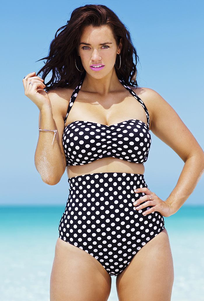 Many of our high waist bikini bottoms include lining for tummy control so you can have confidence for your fun day in the sun at the pool or beach. Mix and match high waisted bathing suit bottoms with your favorite cute plus size bikini top. Choose from plus size halter tops, plus size sport tops, and more.
